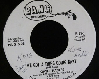 Gayle Haness We Got A Thing Going Baby 45 RPM Bang Records B-526