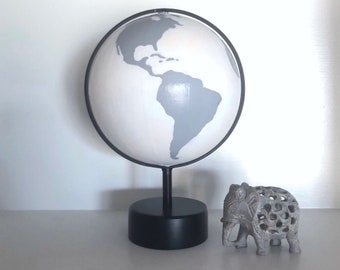Grey + White Painted Globe // Perfect for bookshelves, nurseries, offices, wedding gifts, desks, school classrooms, etc // JessCathDesigns