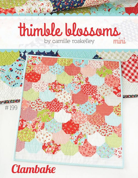 Mini Clambake Quilt Kit Featuring Charm Pack of Little Ruby by Thimble Blossoms.  Retro Style Of Florals and Dots by Bonnie And Camille Moda