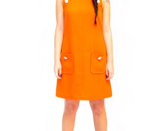 Mod dress pinafore orange a line dress scooter 1960's