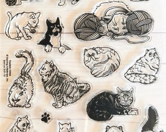 cat stamps, kitten stamps, cat greeting cards, long haired cats, gifts for cat lovers, cat stickers, siamese cat stamps, cat toy stamps