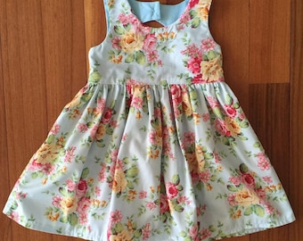 Heaven Sent Handmade girl party dress blue floral flowers