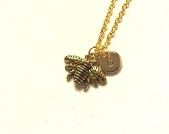 Antique Gold Bee Necklace, Bee Charm Necklace, Insect Necklace, Personalized Initial Necklace, Initial Charm, Monogram Necklace (A1)