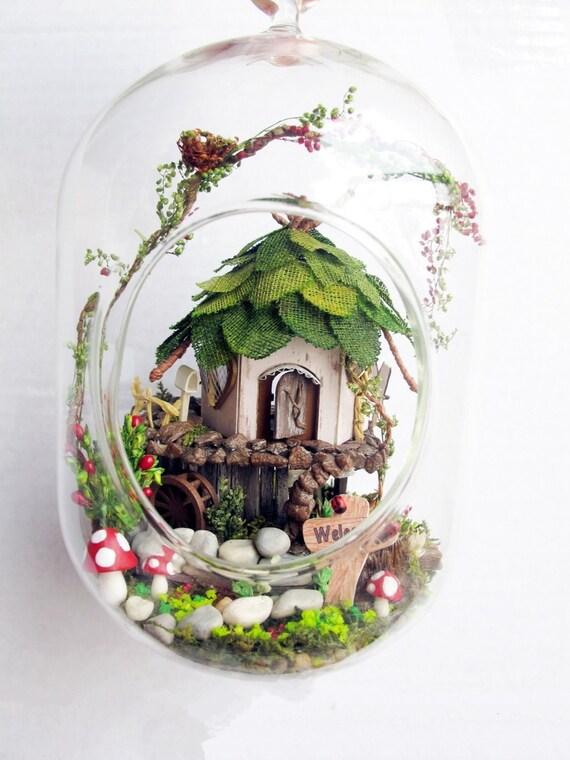 Fairy house tree house terrarium diy kit set elf gnome - Terrarium decoration miniature ...