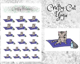 Crafty Cat Yoga Stickers, Planner Stickers, Hand Drawn Stickers, Cat Stickers, Yoga Stickers