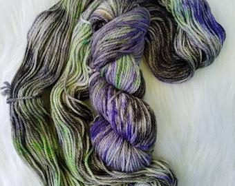 Maleficent, Aran/Worsted, 100% Superwash Merino, 181 yards/100g, 19.5 micron, hand dyed yarn, indie dyed yarn