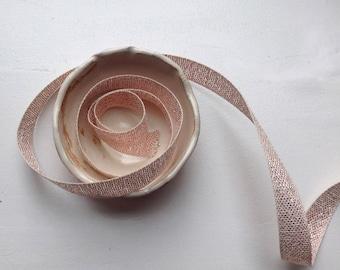 """1/2"""" Metallic Loose Weave Cotton Ribbon in Natural, Rose Gold"""