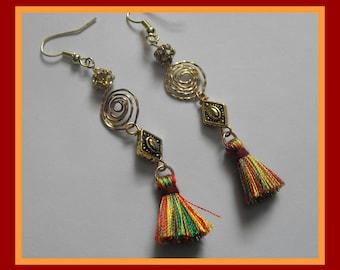 Gold and Mulit-color Tassel Earrings Shoulder Dusters Dangle Earrings