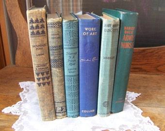 Vintage Books (lot of 6)Vintage Blue Books.Decorative Old Books.Stack of Old Books.Vintage Wedding Decor.Book Shelf Decor.Real Estate Props.