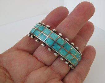 Zuni Turquoise Channel Inlay Sterling Silver Bracelet Cuff with Applied Drops