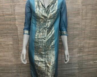 Dress BJ's Fashions Vintage Exotic Metallic Blue Silver 3/4 Sleeves Shirt Dress Tunic Sz S