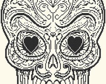 Sugar Skull Cross Stitch Pattern modern cross stitch skull pattern Skalsømssøm -141 x 203 stitches- INSTANT Download - B1662