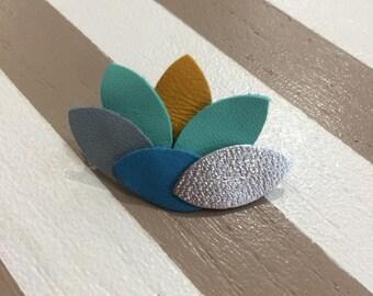 blue lotus flower leather brooch