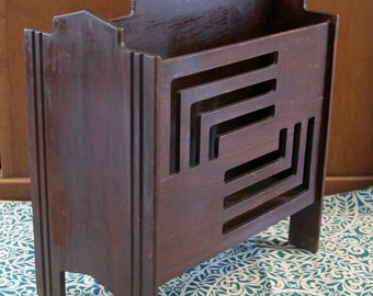Vintage Wood Book or Magazine Rack Holder Art Deco Design Wooden with Handle and 4 Feet