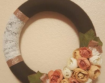 Sophisticated Rananculous Wreath, brown and rose gold