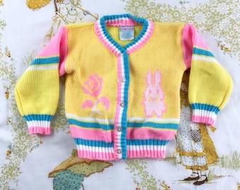 Vintage Neon Pastel Bunny Rabbit Cardigan Sweater