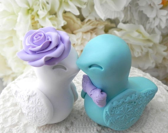 Love Bird Wedding Cake Topper, Lilac, Aqua and White, Bride and Groom Keepsake, Fully Custom