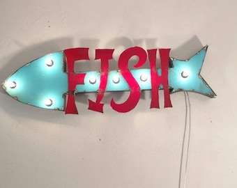 FISH sign - beach house decor - bait shop sign - light up sign - vintage style marquee sign - lake house decor - bait shop sign