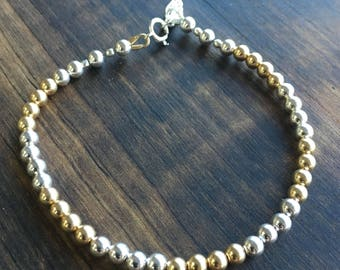 Angel Wing Charm in Sterling Silver and 14K Gold Filled Bracelet