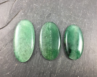 Green Aventurine Natural Stone Cabochons | Lot of 3 | Healing Stones