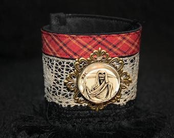 Gothic Cuff Bracelet, lace and grim reaper