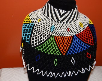 Beautiful Multicolored African bead statement choker necklace