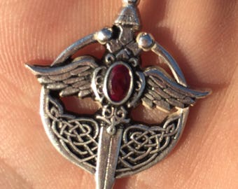 Saint Michael Sword Pendant handmade Silver .925 with Red Granate Stone