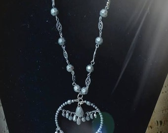 After Life Accessories: Handmade Chandelier Bead Pendant Adjustable Ribbon Necklace