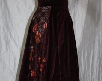 Velvet skirt [Flowerlace]-burgundy-wine-Autumn-Gr. 38