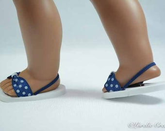 American Girl or 18 inch doll SANDALS SHOES Flipflops in Blue with White POLKA Dot and Heel Strap