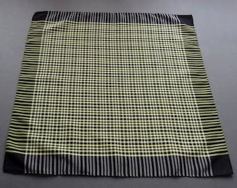 Vintage Large Men's Black Yellow and Gray Checker Silk Blend Hankie Handkerchief or Bandana
