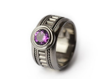 The Man Ring-  Amethyst personalized Men's Black Ring / Gothic Ring/Edgy Ring/Boyfriend Gift for Man