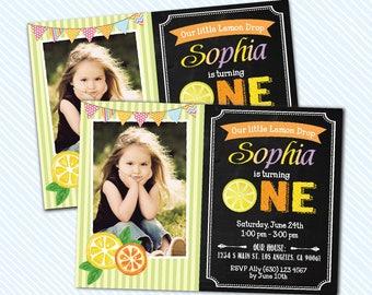 Digital Printable Lemon Birthday Invitation. Girl Birthday
