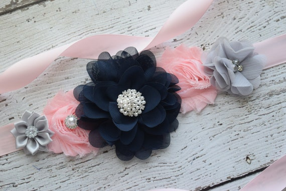 Flower Sash, Blush pink navy Grey Sash,#3, flower Belt, maternity sash, wedding sash, maternity sash girl, flower girl sash, gray sash