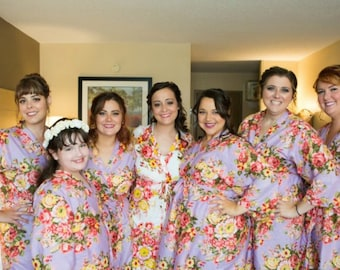 FLASH SALE - Lilac Rosy Red Posy Bridesmaids robes | Kimono Robes, Wraps, bridesmaids gifts, getting ready robes, Bridal party robes