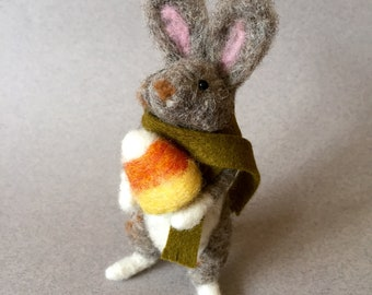 Needle felted rabbit with a piece of candy corn, felted bunny, needle felted animal, Halloween rabbit, Autumn nature gift,  gift for her