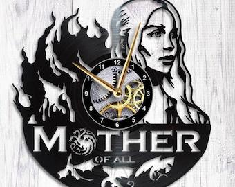 Game of Thrones Clock mother of dragons Daenerys Targaryen khaleesi game of thrones gift game of thrones wall art