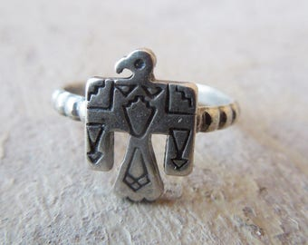 Little Mini Stamped Sterling Silver Thunderbird Ring Cowgirl Southwestern Jewelry