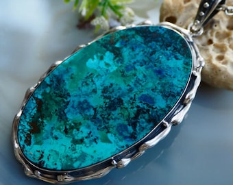 Shattuckite Necklace Blue Stone Pendant Sterling Silver Jewelry