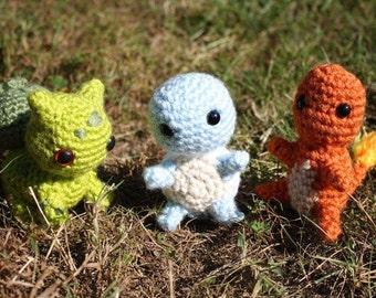 Crochet Pokémon All Three Kanto Starters, Squirtle, Bulbasaur, Charmander Amigurumi
