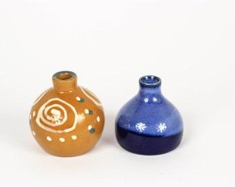 Vintage Miniature Vases  Two Mini Vases Tiny Vase Mini Vase Collectable Vase Miniature Vase Set Glaze Decorated