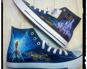 Disney hand painted shoes , Disney shoes, Tinkerbell shoes , hand painted converse shoes, Disney wedding shoes, hand painted wedding shoes
