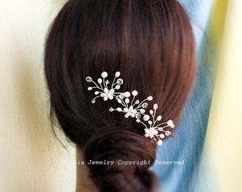 3 Bridal Hair Pin Set H0003, Bridal Hair Pins, Wedding Hairpins, White Pearl Hair Pins, Wedding Hair Accessories