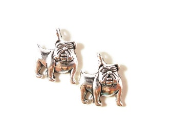 Silver Bulldog Charms 16x13mm Antique Silver Tone Metal Puppy Dog Animal Charm Pendant Jewelry (Jewellery) Making Findings 10pcs
