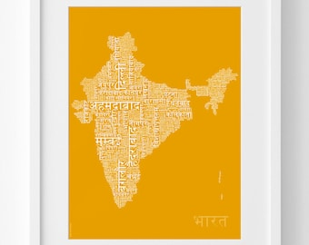 India Map in Hindi – Typographic Map Print – India Wall Art – India Gift – Hindi Letters – Birthday Gift – In Three Sizes – Many Colours