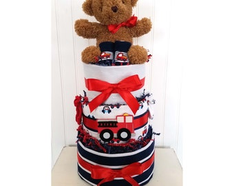 Blue & Red Teddy Bear and Fire Trucks Diaper Cake for Baby Shower Centerpiece or Gift