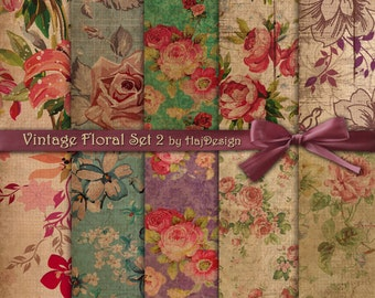 "Floral digital paper : ""VINTAGE FLORAL SET 2"" vintage digital paper with roses on old, grungy background, decoupage paper, shabby chic"