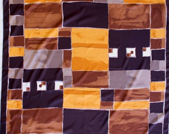 Vintage Scarf - Brown Tones - Gold - Made in Italy - Color Block - Brown Gold Tan