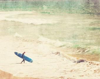 surfer poster, large beach home decor, beach photography, blue surfboard, boys room wall art, ocean waves, dorm decor, for him