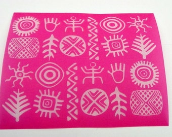 Beadcomber Silk Screen - Tribal Silkscreen for Polymer clay, Paper Crafts, painted patterns on smooth surfaces and DIY